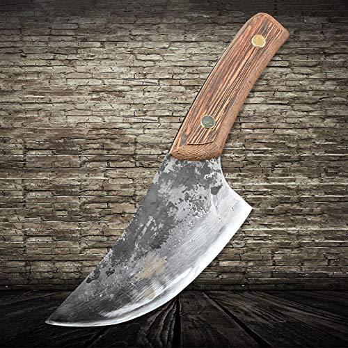 Cuchillo de carnicería forjada hecha a mano Cuchillo de matadero completo CLAD CLAVER CLEAVER HAMMER DE CAJEZA DE AGUA BRADA AXCULZO CHEF CHEF CHEZ CUCHILLO
