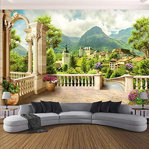 Papel pintado mural imagen 3D Murales personalizados Papel tapiz 3D estéreo Roma Columna Balcón Ciudad Paisaje Foto Pintura mural Sala de estar Dormitorio Papel De Parede 3 D