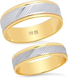 14K Solid White and Yellow Two Tone Gold His & Hers Matching Wedding Band Ring Set Slant Laser Cut (Choose a Size)