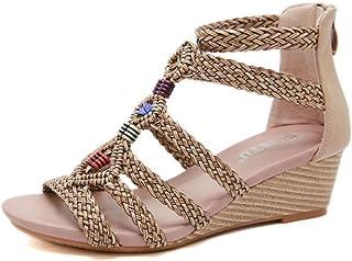 f22ad0039d6 Verano Plataforma Zapatos De Tacón Alto,Sandalias De Mujer Tejidas con  Sandalias De Cuña.