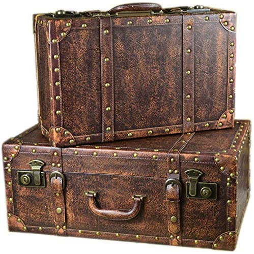 LHSUNTA Durable Set Of 2 Vintage Storage Suitcase Retro Decorative Wooden Box With PU Leather,Treasure Chest Jewellery Organiser Craft Project (Color : White, Size : Large+small)