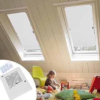 Lingle888 Cortina opaca para ventanas de techo Velux F06 206 con ventosa, protección UV sin taladrar y fácil instalaciónSucker, poliéster, Blanco, 15
