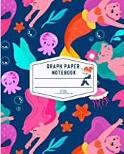 Mermaid Graph Paper Composition Notebook: Quad Ruled 4x4 Grid Paper for Math & Science: Cute Blue Graph Composition Notebo...