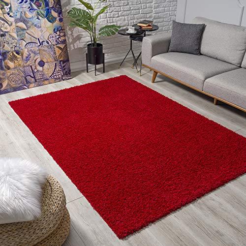 Impression Wohnzimmerteppich - Hochwertiger Öko-Tex zertifizierter Flächenteppich - Solid Color Teppich Rot - Größe 140x200