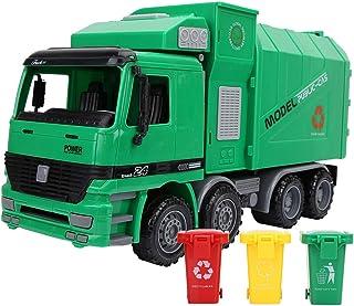 Camión de Basura de inercia, plástico Modelo de simulación de niños Saneamiento Vehículos Vehículos Juguetes con Tres basuras, Antideslizante y Resistente al Desgaste Neumático