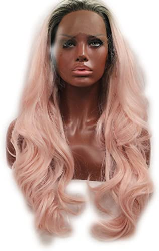 SHKY Black to Rosa 2 t Ombre Body Wave Synthetic Lace Front Perücke Rosa Welle Hitze resistente Faser Haare mit Dunklen Wurzeln für die Frau