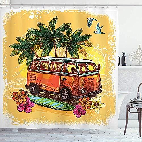 ASDAH Surf Douche Gordijn Hippie Klassieke Oude Bus met Surfboard Vrijheid Vakantie Exotische Leven Sketchy Art Doek Stof Badkamer Decor Set met Haken Geel Oranje 66 * 72in