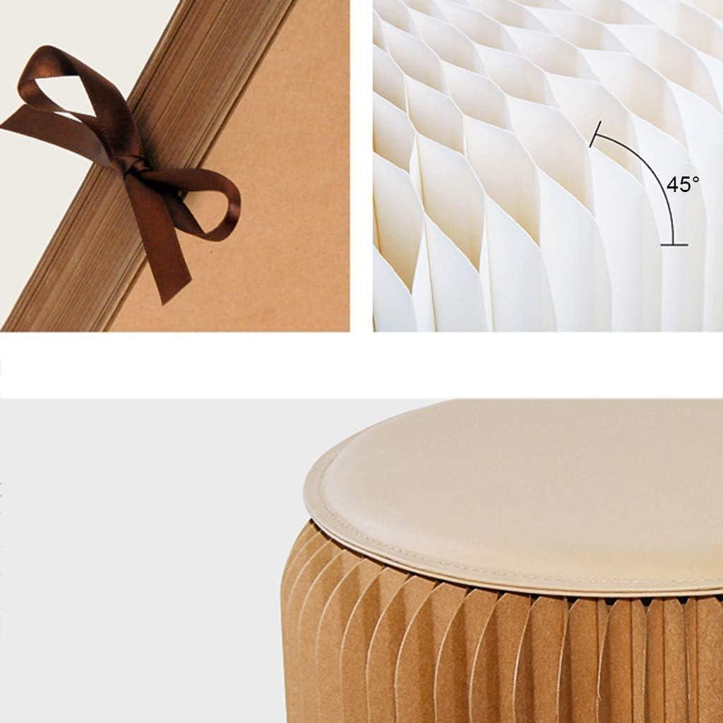 ZCM Papier Pliant De Tabouret De Pied, Tabouret Rond Portatif De Marchepied De Structure De Nid d'abeille De Papier Kraft(Color:Rouge) Noir