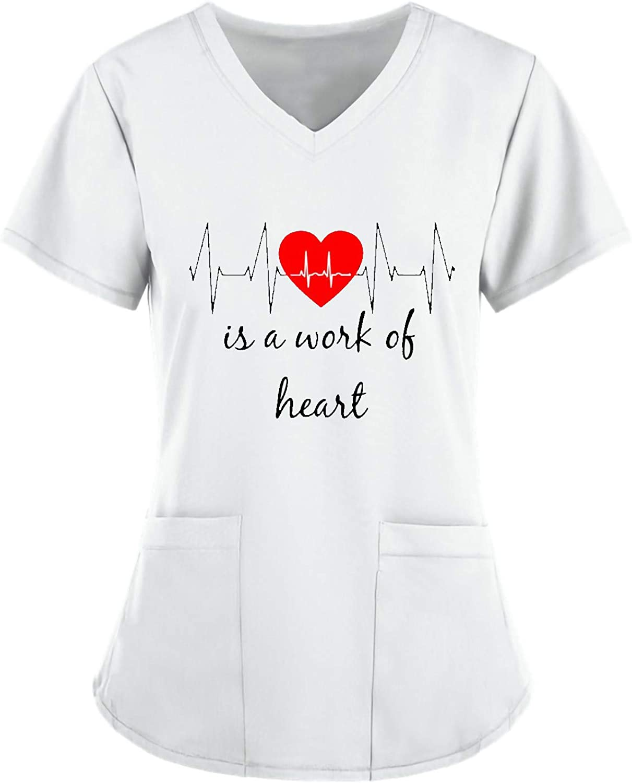 Women's Nursing Short Sleeve V-Neck Cute Print Tee Tops Working Uniform Solid Color Pocket Blouse