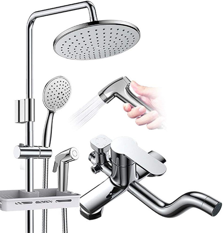 Duscharmaturen, Badewanne Wasserhahn Bad Dusche Wasserhahn Badmischer Wandmontage Regendusche Set Mischbatterie, Chrom