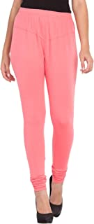 American-Elm Women's V-Cut Solid Stretchable Cotton Lycra Churidar Leggings/Yoga Pants for Ladies/Girls