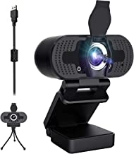 Webcam with Privacy Cover and Tripod, HD Webcam with Microphone 1080P,Streaming Computer USB Web Camera for Calling/Studyi...
