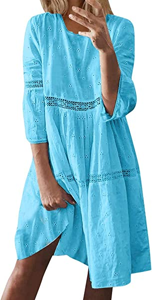 Staron Women Dress Casual Boho Solid Color Crew Neck Hollow Out Splice 3 4 Sleeve Long Dresses