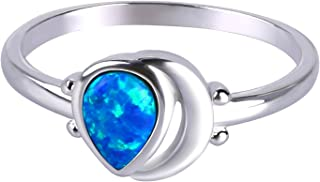 Anelli KELITCH per donne Ragazze Anello per impilamento opale blu a goccia d'acqua Anello per donna placcato argento scava...