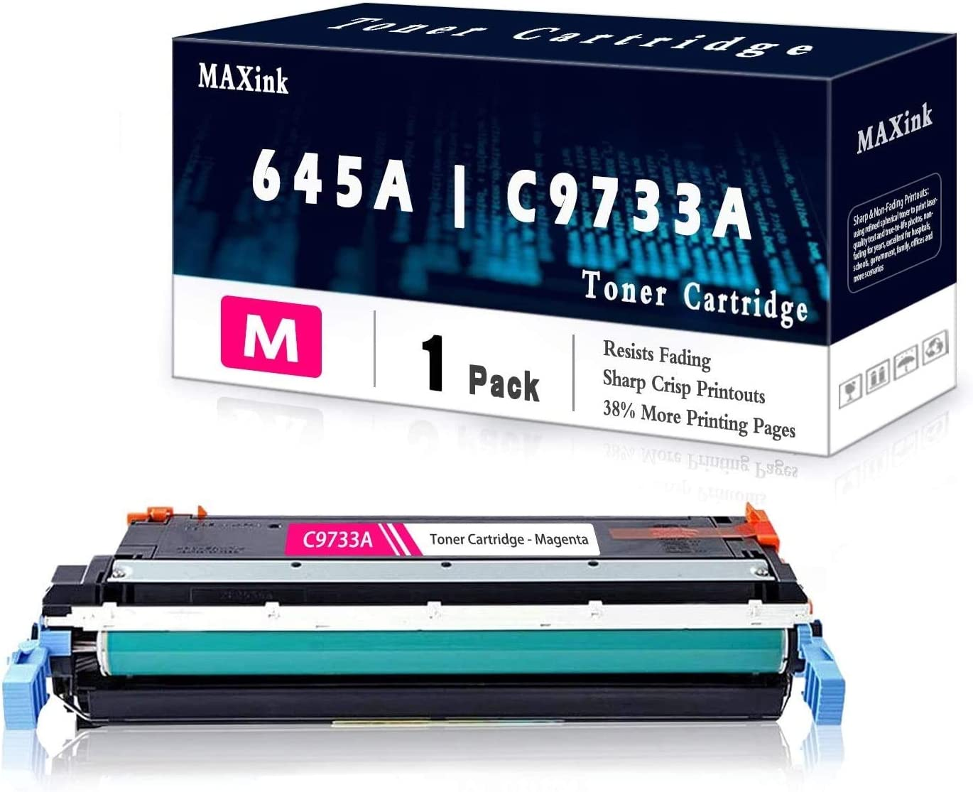 1-Pack Magenta 645A   C9733A Remanufactured Toner Cartridge Replacement for HP Color Laserjet 5550 5550n 5550dn 5550dtn 5550dtn 5500 5500dn 5500dtn 5500hdn Printer.