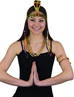 Egyptian Costume Set (Headband, Arm Cuff & Necklace) Gold
