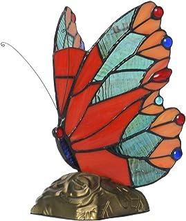 LYDQ Tiffany Estilo Rojo Mariposa Acento Lámpara de Mesa Alta 9.5 Pulgadas Uso de Base de Resina Lámpara de Sobremesa Lampara Mesilla de Noche para Estar Dormitorio Sala E14
