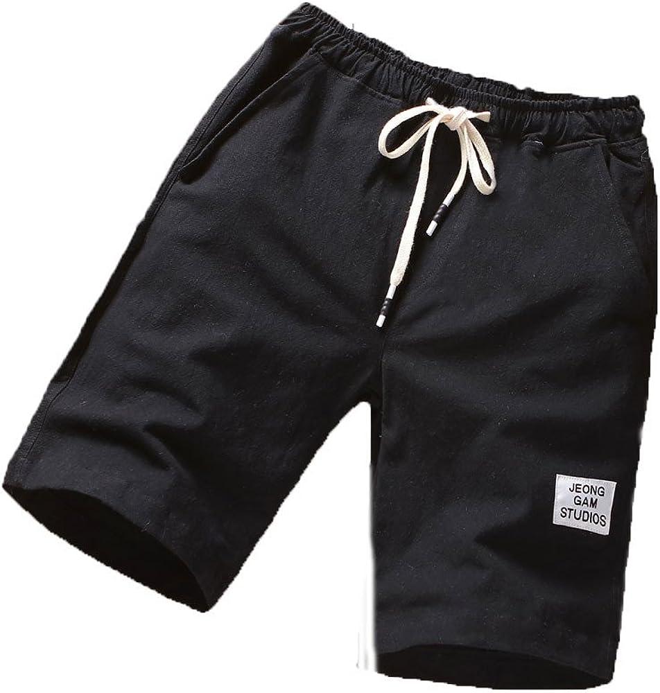 WUAI-Men Shorts Big and Tall Casual Drawstring Elastic Waist Workout Shorts Fashion Summer Beach Shorts with Pockets