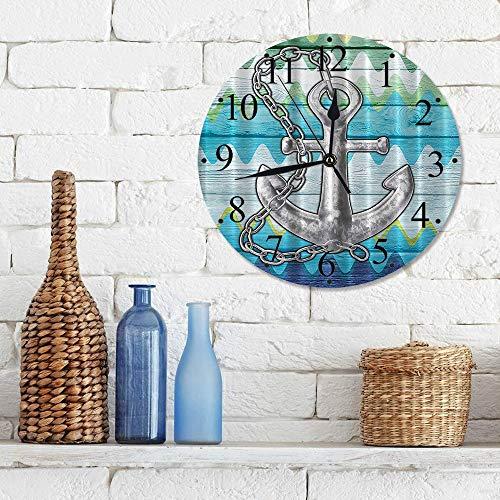 Silencioso Wall Clock Decoración de hogar de Reloj de Redondo,Chevron, náutico con cadena de acero Tablones de madera rústica Boya Niños Lovely Dreamy al,para Hogar, Sala de Estar, el Aula