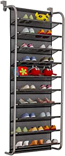 FKUO 10-Tier Over The Door Shoe Organizer Hanging Shoe Storage with 2 Customized Strong Metal Hooks for Closet Pantry Kitchen Accessory - Space Saving Solution (Black, 10 Layer)