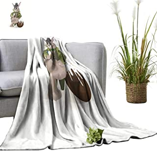 crabee Faux Fur Throw Blanket Easter Bunny with Chocolate Egg Fall Winter Spring Living Room 55