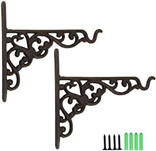 "TinaWood 2PCS 6.9"" x 8.1"" Cast Iron Hanging Basket Vintage Wall Hook with Screws/Decorative Plant Hanger for Bird Feeders,..."