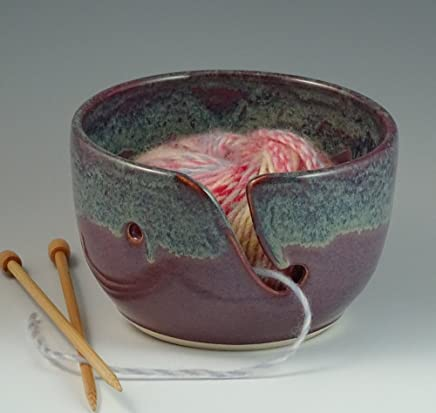 Yarn Bowl in Purple with a rim of Gray Blue