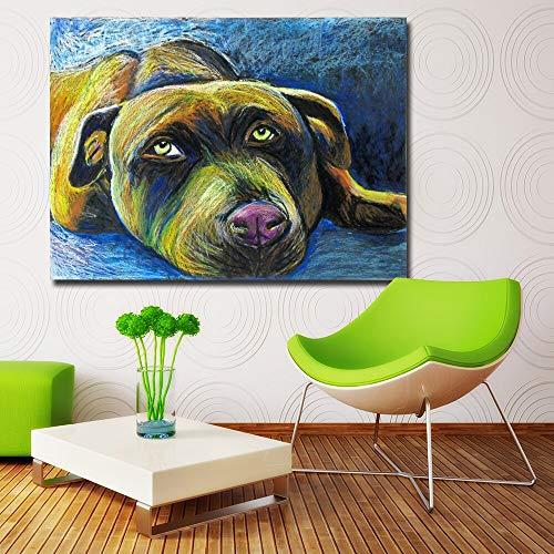 Wright Hund Pastell Tier Poster und Drucke Leinwand Kunst Malerei Dekoration Malerei Kinder Wandkunst Dekoration rahmenlose Malerei 60cmX75cm