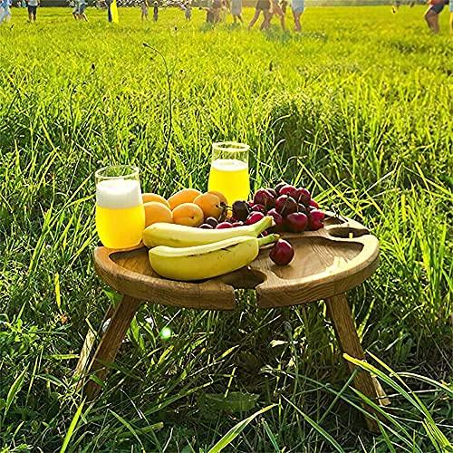 Chahu Mesa de picnic plegable al aire libre de madera con soporte de vidrio redonda plegable mesa de vidrio de vino...