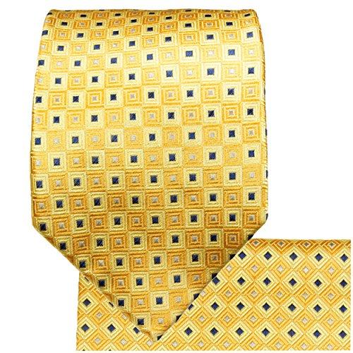 Cravate homme or jaune carreaux ensemble de cravate 3 Pièces ( longueur 165cm )