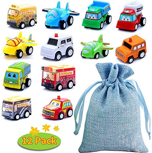 BBLIKE Set Macchinine per Bambini - 12 pezzi Mini Auto Tirare Indietro Veicoli da Costruzione, Camion dei Pompieri, Auto da Corsa