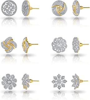 bc8b90fc1 Charms Combo of 6 Stylish 18K Gold Plated Crystal Stud Earrings For Women &  Girls