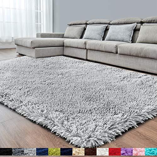 Light Grey Super Soft Area Rug for Bedroom,4x6.6,Fluffy Rugs for Living Room,Shag Carpet for Girls Boys Room,Furry Rug for Baby Kids Room,Fuzzy Rug for Dorm Nursery Room,Anti-Slip Rug,Bedside Rug