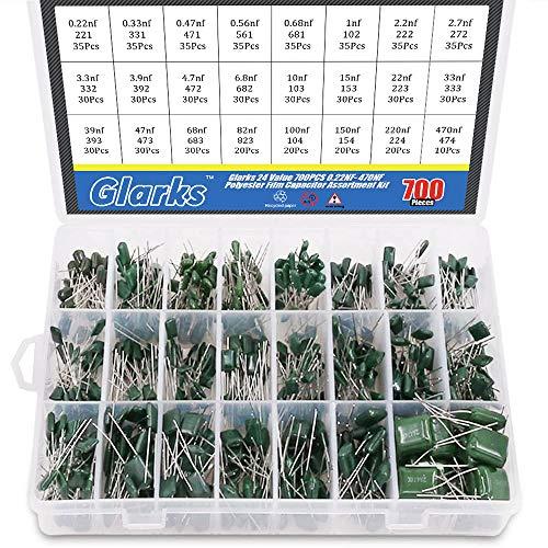 Glarks 24 Value 700 piezas 0.22NF- 470NF condensador de película de poliéster Surtido Kit