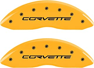 MGP Caliper Covers 13008SCV6YL, Caliper Cover Compatible With Corvette C6, Engraved Front and Rear, Yellow Powder Coat Finish, Black Characters, 4 Pack