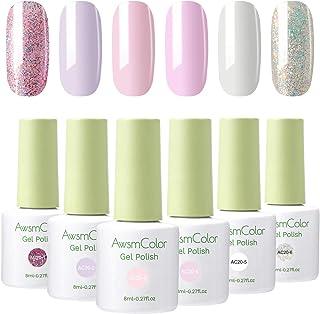 Nail Polish, AwsmColor Gel Nail Polish Set Soak Off Baby Pink White Glitters Nail Polish Kit 6 Colors 8ml Nail Art Gels Ho...