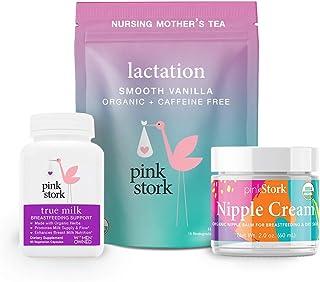 Pink Stork Nursing Bundle: Supplements, Tea with Fenugreek, and Nipple Cream, Supports Breast Milk Supply & Flow, Women-Owned