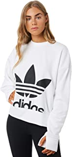 Adidas Women's Sweater Crew Neck Long Sleeve Cotton Polyester White