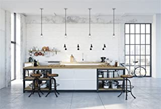 OFILA Modern Kitchen Backdrop 7x5ft Brick Wall Cooking Tools Pan Bike Marble Floor Droplights Glass Window Interior Wallpaper Family Housewife Party Decoration Baby Kids Photos Video Studio Props