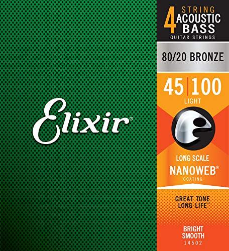 Cuerdas de bajo de 4 cuerdas Elixir® Strings de acero inoxidable con recubrimiento NANOWEB®, escala larga, calibre ligero (.045-.100)