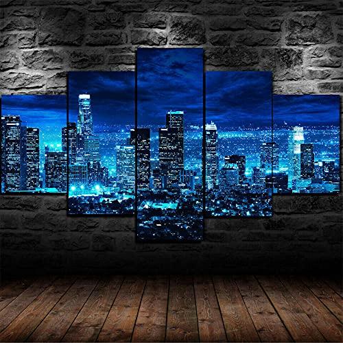 CCRTAR Póster Noche de Los Ángeles - 5 Piezas - Impresión en Lienzo - Pared Decoración Casa Ancho: 100cm, Altura: 55cm