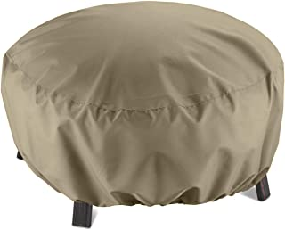SunPatio Outdoor Fire Pit Cover, Round Fire Bowl Cover, Kettle Ottoman Cover, 32