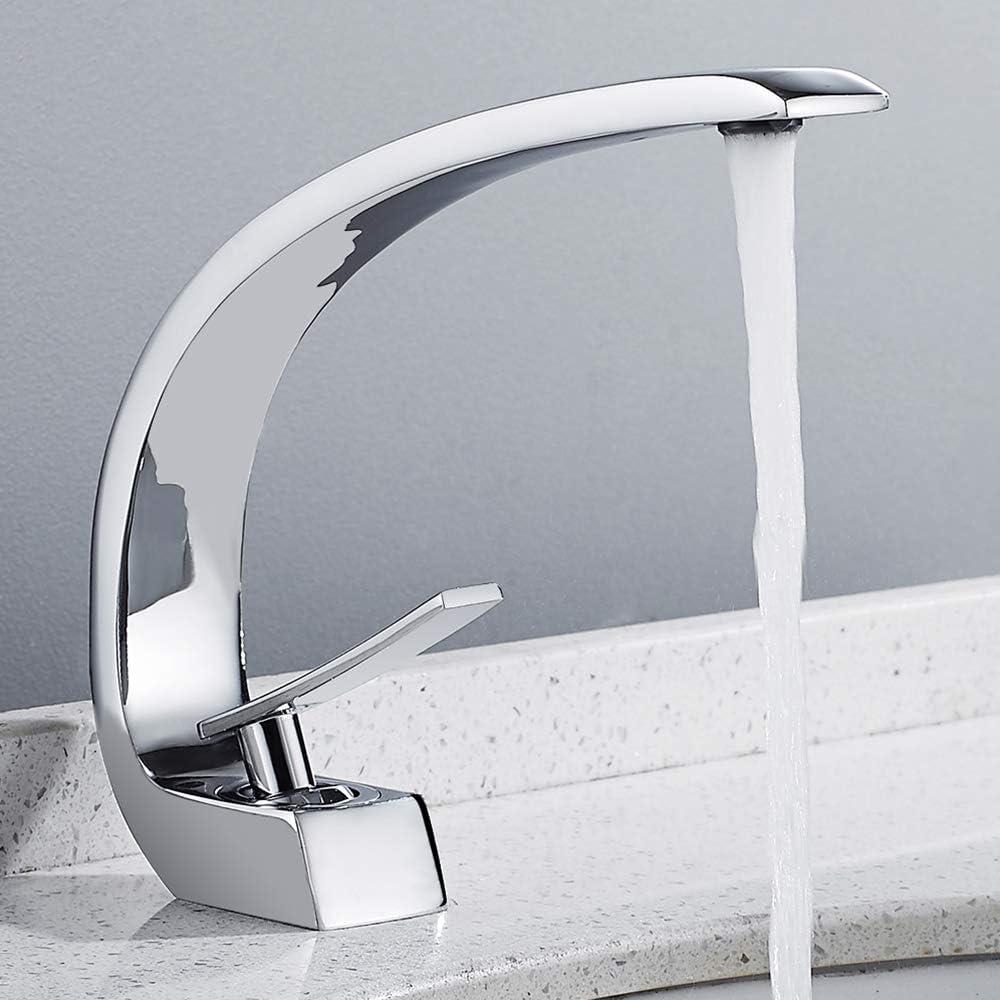 Moderno Grifo Curvo de Cobre Grifo de Boca Plana de Cuerpo Curvo Diseño Moderno Control de Agua Fría y Caliente Grifería de Lavabo