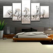 Frame 5 Piece Canvas Art White Arabian Horses Modern Decorative Paintings on Canvas Wall Art for Home Decorations Wall Dec...