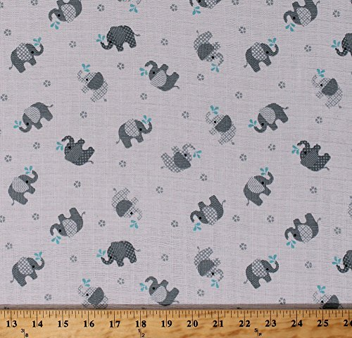 """Field's Fabrics Two- Layer Softee Double Gauze 43"""" Cotton Baby Gray Elephants on White by The Yard (-1503081633)"""