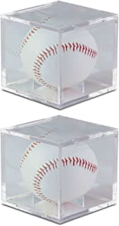 BCW Square Ball Display Box Crystal Clear with Built-In Ball Cradle and UV Protection (2-Units)