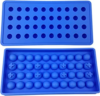 Mydio 2 Pack 40 Tray Mini Ice Ball Molds DIY Molds Tool for Candy pudding jelly milk juice Chocolate mold or Cocktails & whiskey particles,Pale Blue