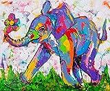 Kit de pintura de diamantes 5D,Resumen pradera animal elefante azul Bordado redondo del punto de cruz del diamante del taladro para los niños de los adultos, para la decoración casera