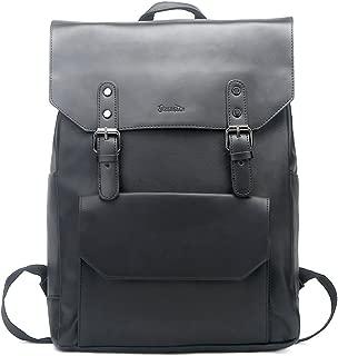 Zebella Faux Leather Backpack Vintage Leather Black Backpack Vegan Travel College Bookbag for Women and Men