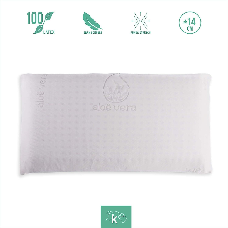 Dreaming Kamahaus Pack 2 Almohadas núcleo Látex 75cm   Núcleo 100% LÁTEX   Microperforado   Descanso Natural   Funda Stretch Aloe Vera   Gran Confort ...